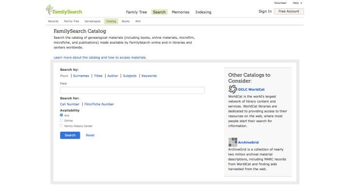 FamilySearch Catalog screenshot.