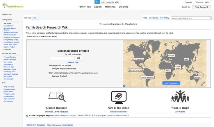 FamilySearch Wiki screenshot