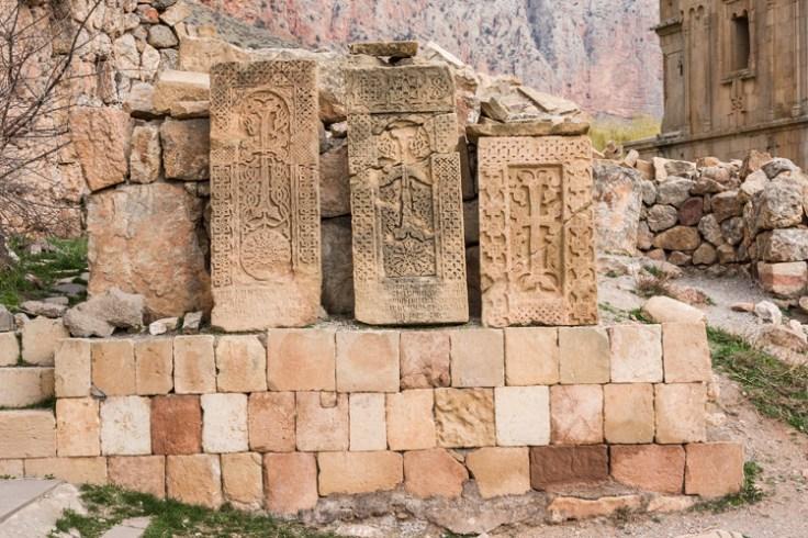 Armenian Khachkar stone carvings.