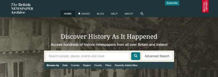 The British Newspaper Archive homepage.