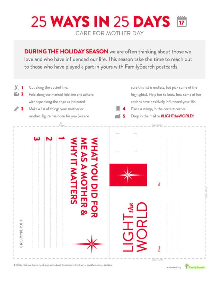 Free printable postcard to help #LIGHTtheWORLD by recognizing the mother in your life on day 17.