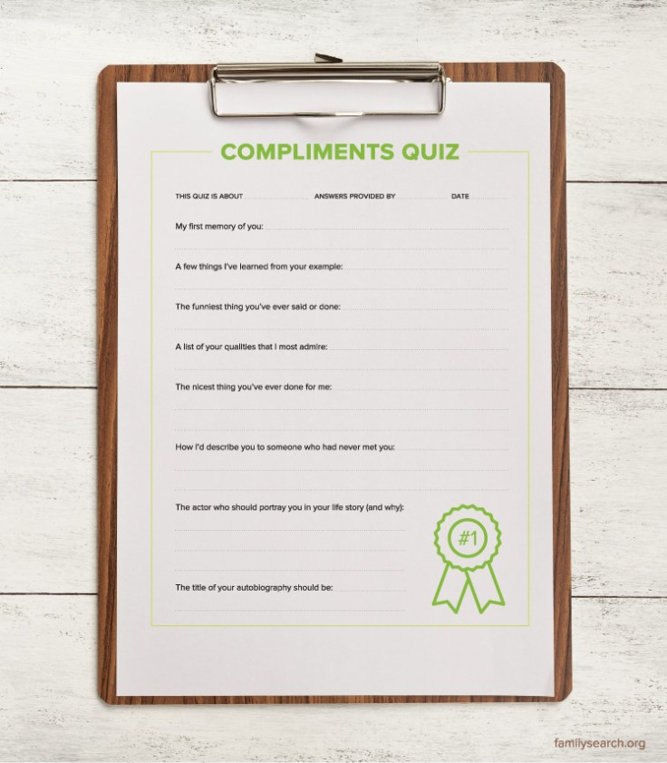 Print the Compliments Quiz to use with your family members