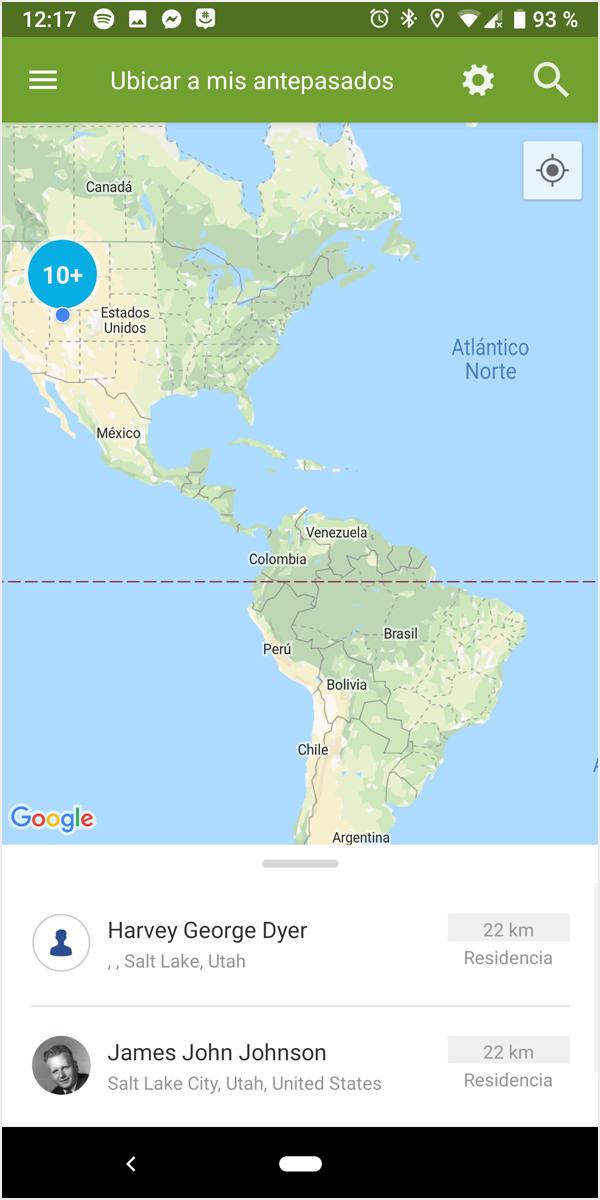 Antepasados en el mapa del mundo en android