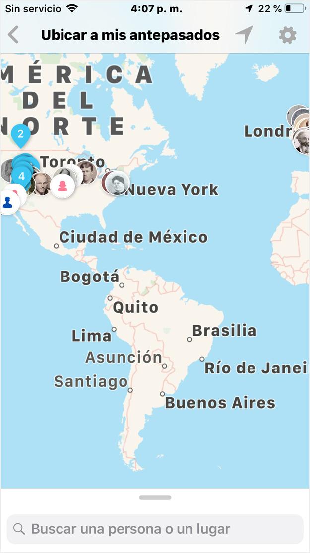 antepasados en el mapa del mundo en ios