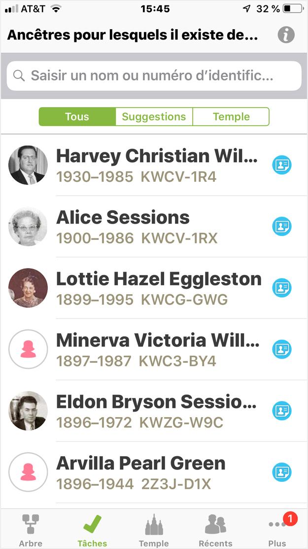 Ancêtres pour lesquels il existe des tâches sur un appareil iOS