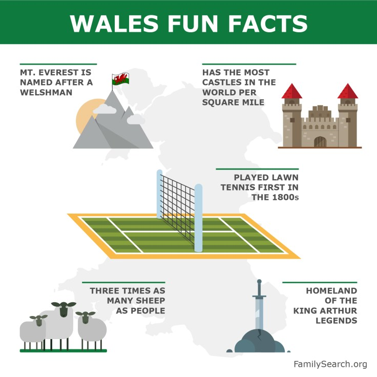 a graphic showing fun facts about Wales