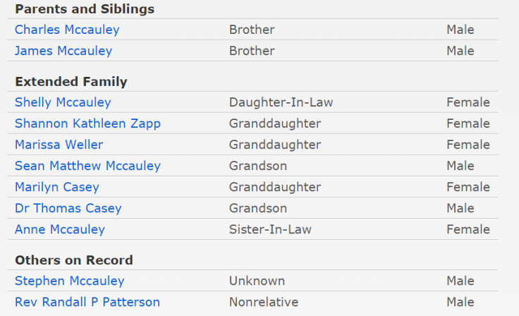 View indexed extended family in obituaries