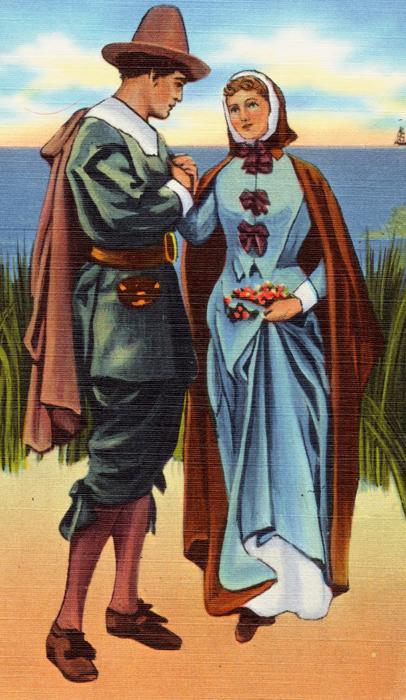 Illustration of John and Priscilla Alden