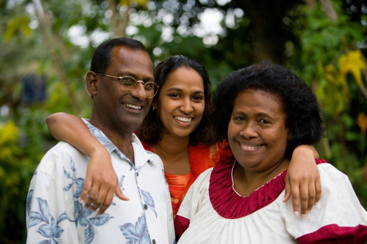 Fijian family - father, mother, and daughter