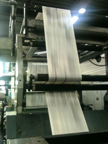 A newspaper printing press.
