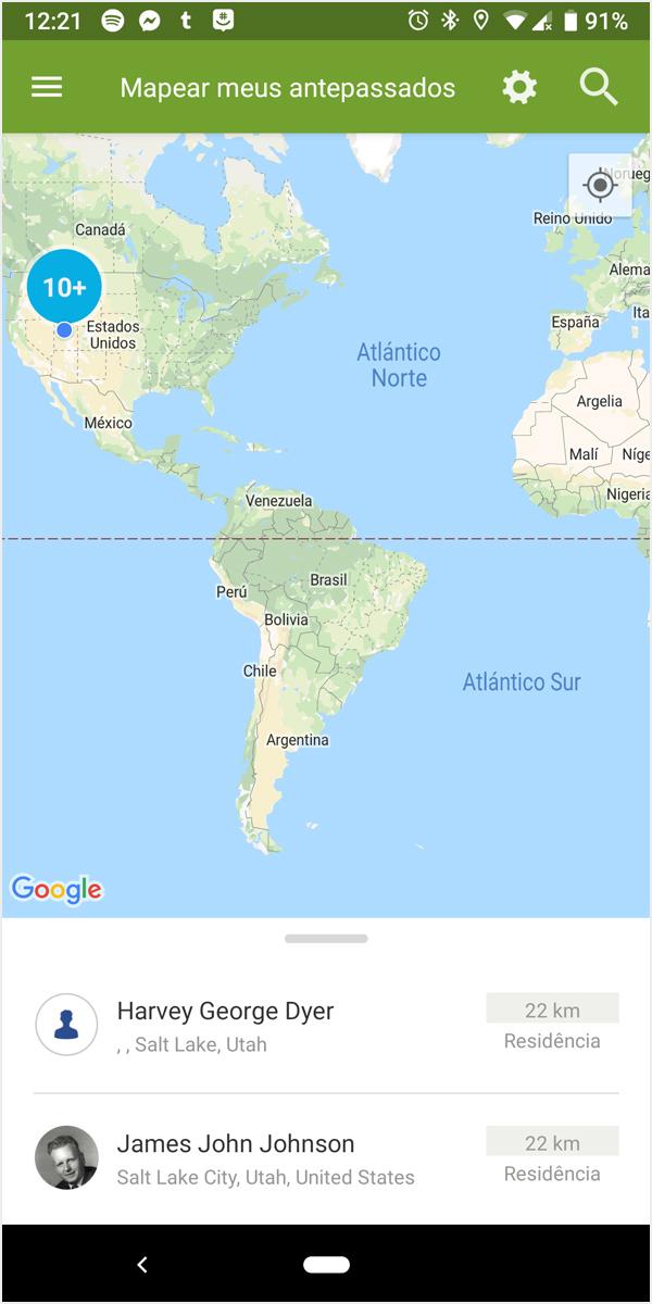 Antepassados no mapa-múndi (Android)