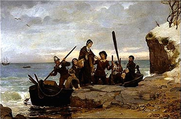 Pilgrims and Mayflower passengers land in Cape Cod