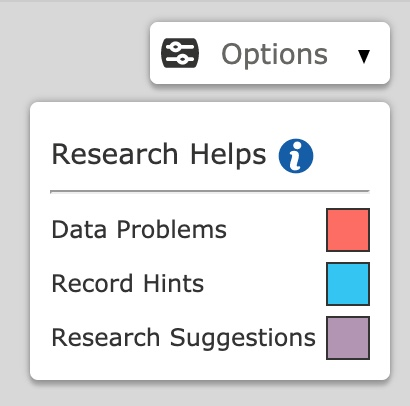 the FamilySearch data problems legend in the fan chart view