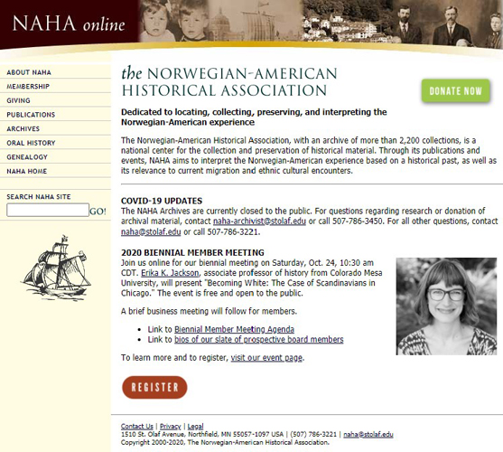 the Norwegian-American Historical Association website