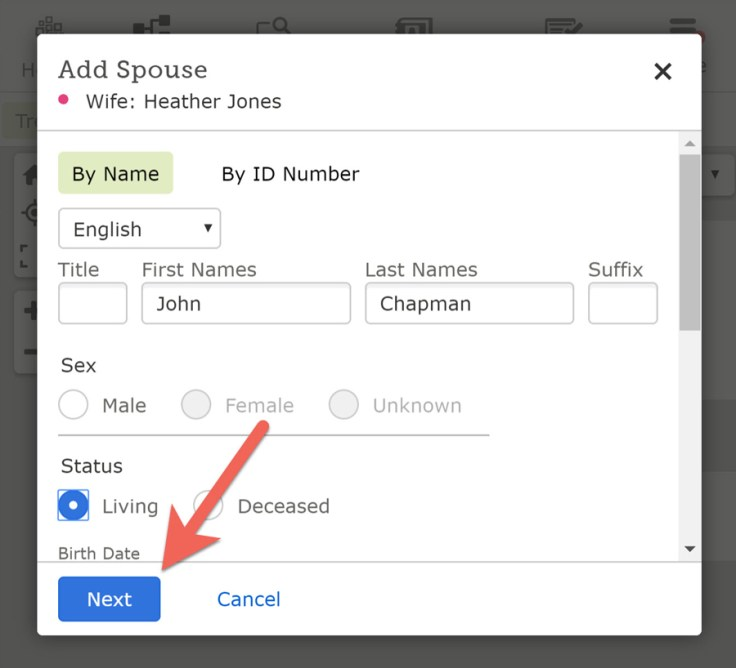 Screenshot showing how to add information about a living relative.
