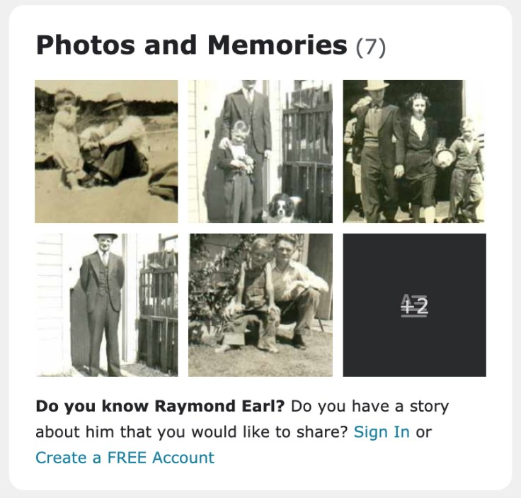 photos and memories screenshot for ancestor page