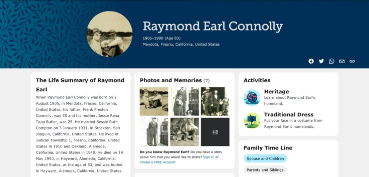 ancestor page screenshot for raymond earl connolly