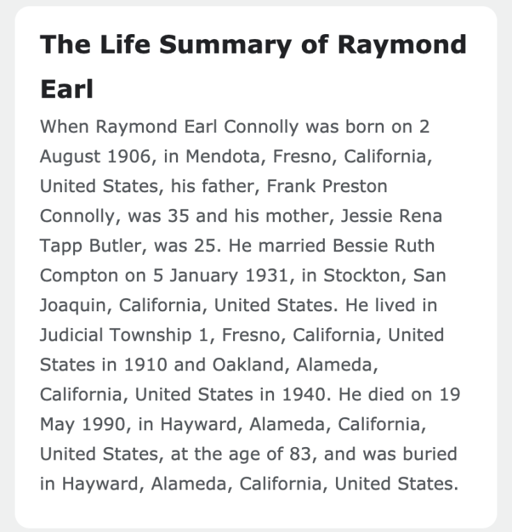 life summary of raymond earl