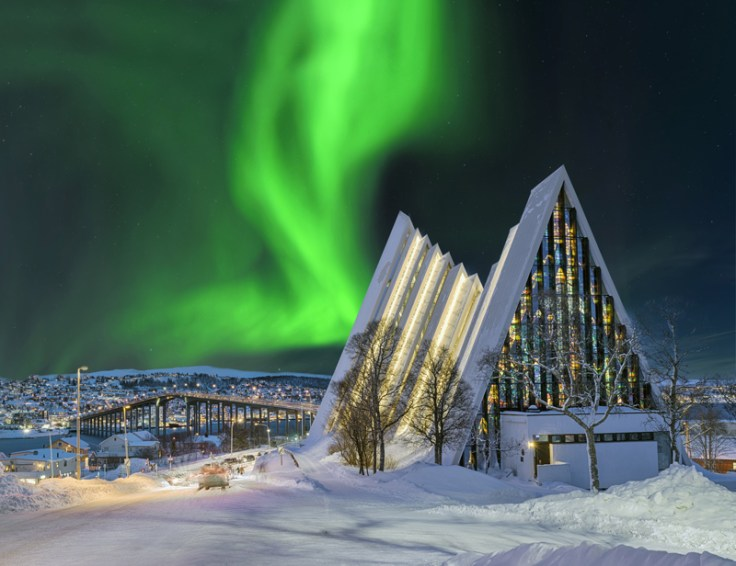 Norway arctic cathedral at night