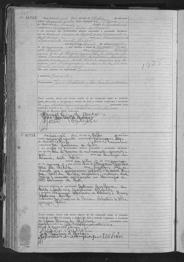 a birth record in portuguese