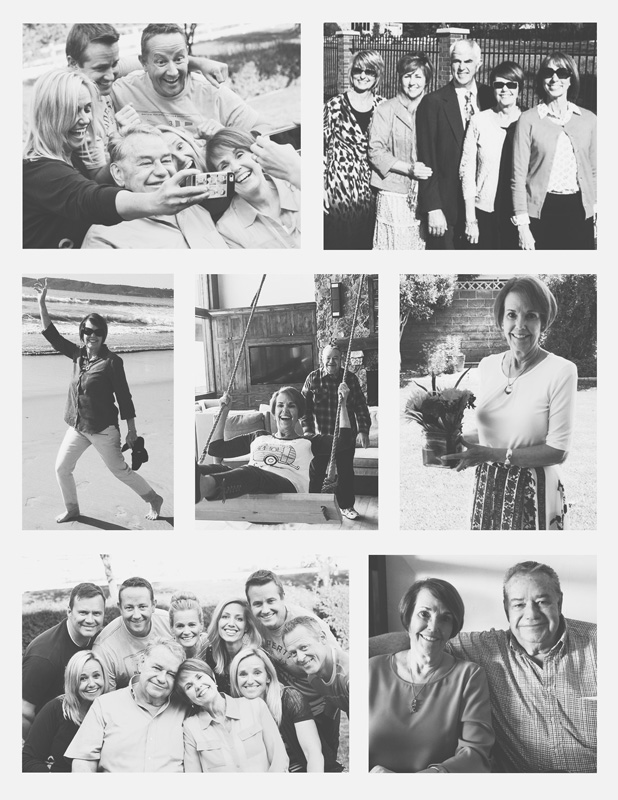 collection of photographs of a woman at her celebration of life ceremony.