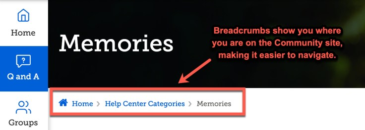 screenshot of breadcrumbs on familysearch community