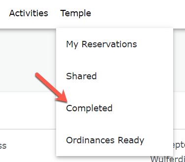 screenshot of Temple tab drop-down menu