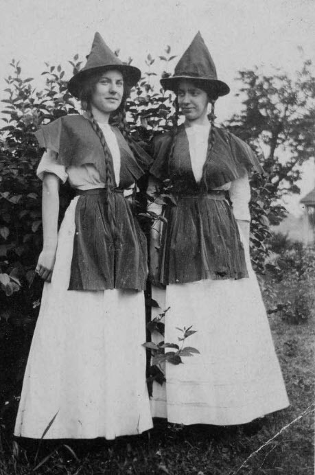 Young women dressed as witches in 1911.