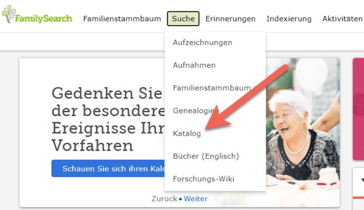 Screenshot der Katalog-Option auf der Startseite von FamilySearch