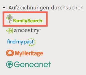 Über die Seitenleiste auf der Personenseite kann man Aufzeichnungen durchsuchen und nach Vorfahren suchen