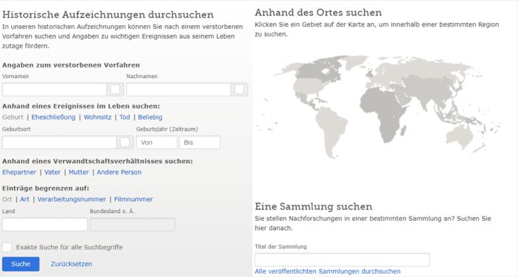 """Ein Screenshot der Seite """"Aufzeichnungen durchsuchen"""", auf der Sie nach Ihren Vorfahren suchen können"""