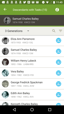 How to find tasks based on descendancy in FamilySearch's Family Tree.