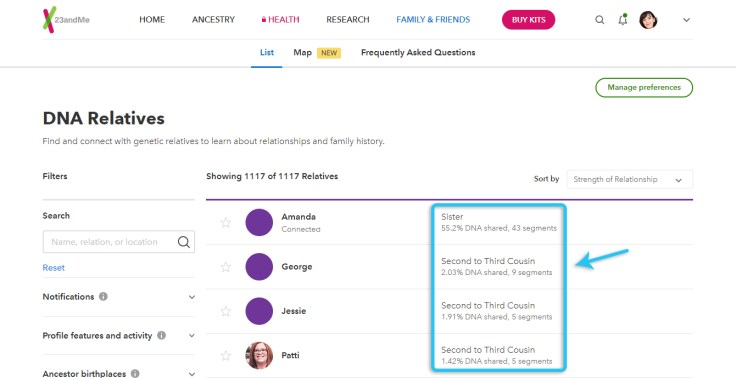 DNA match list screenshot from 23andme.com. How DNA cousins are categorized.