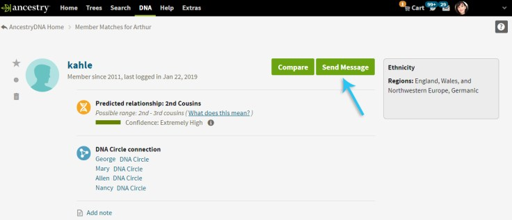 Screenshot showing how to message a DNA cousin match on ancestrydna.com.