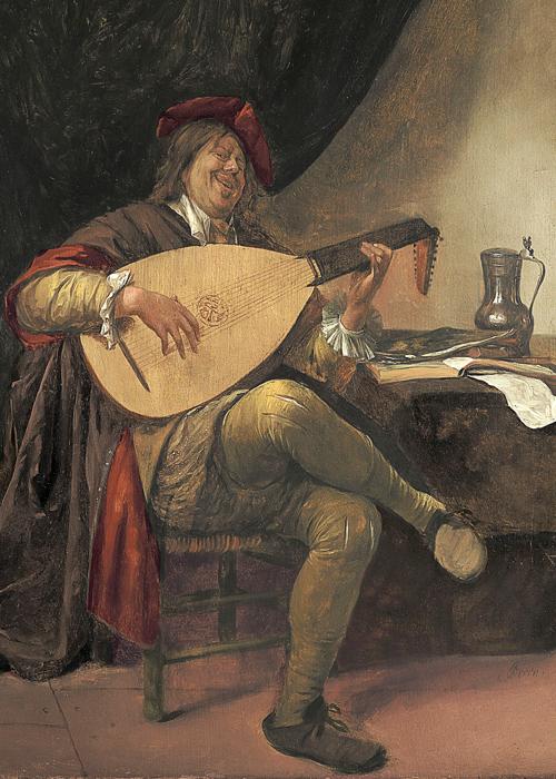 Portrait ancien d'un homme souriant qui paraît lourdaud