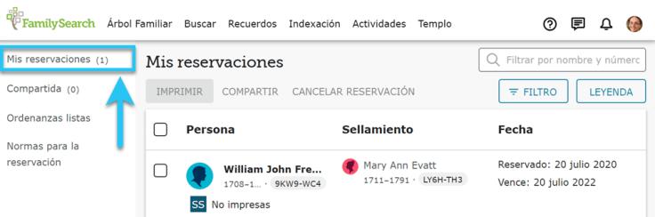 La pestaña Mis reservaciones en FamilySearch, que muestra nombres de familiares reservados.