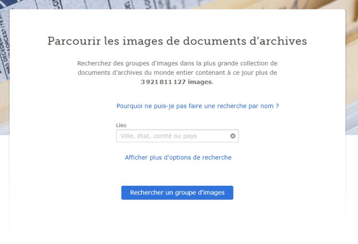 Copie d'écran de la page de recherche d'images de documents.