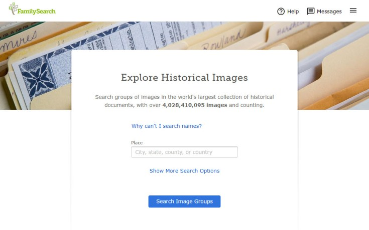 Screenshot of Explore Images search feature.