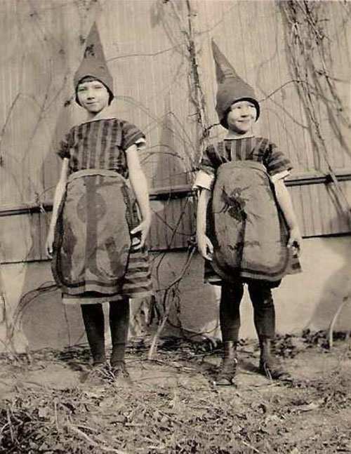 Children dressed in fairy costumes for Halloween in 1930.