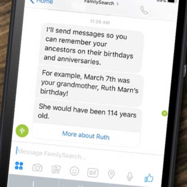 screenshot of text messages about ancestors