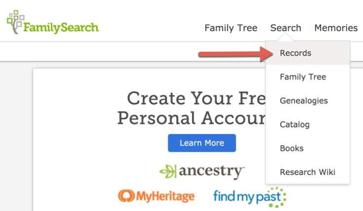 Screenshot of search records  drop down on FamilySearch homepage