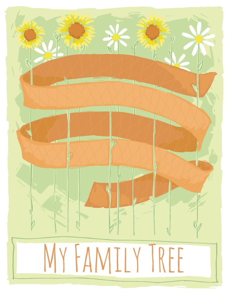 creative family tree ideas, simple to fill out ribbon with flowers
