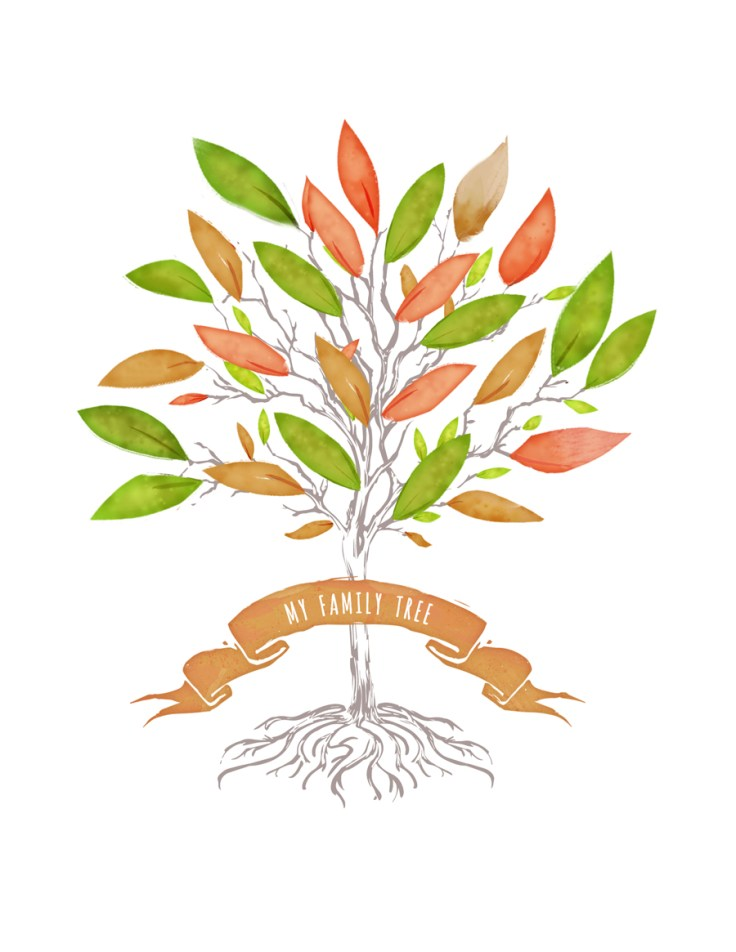 colorful autumn family tree template with orange, green, and yellow leaves