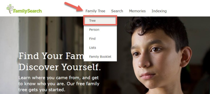 Screenshot of the FamilySearch navigation menu.