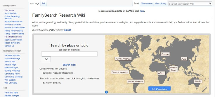 A screenshot of the main page on the Research Wiki.