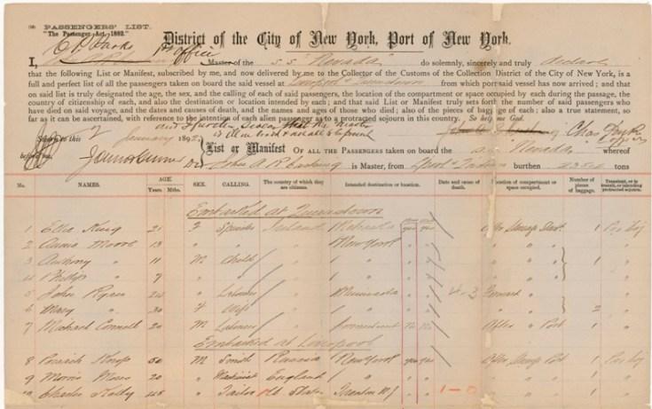 Early New York passenger list