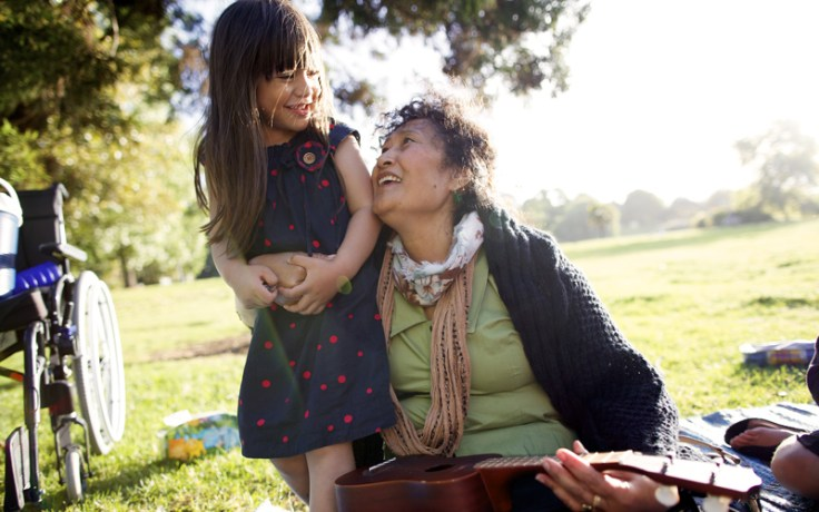 Grandmother with granddaughter outside. Reframing your stories to include the stories of your family builds resilience