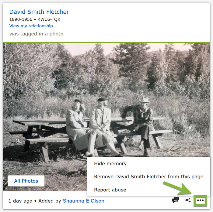 Screenshot of how to hide a memory on FamilySearch.org.