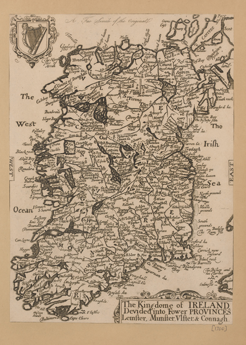 a map of ireland in the 1700s, when censuses would have been taken.