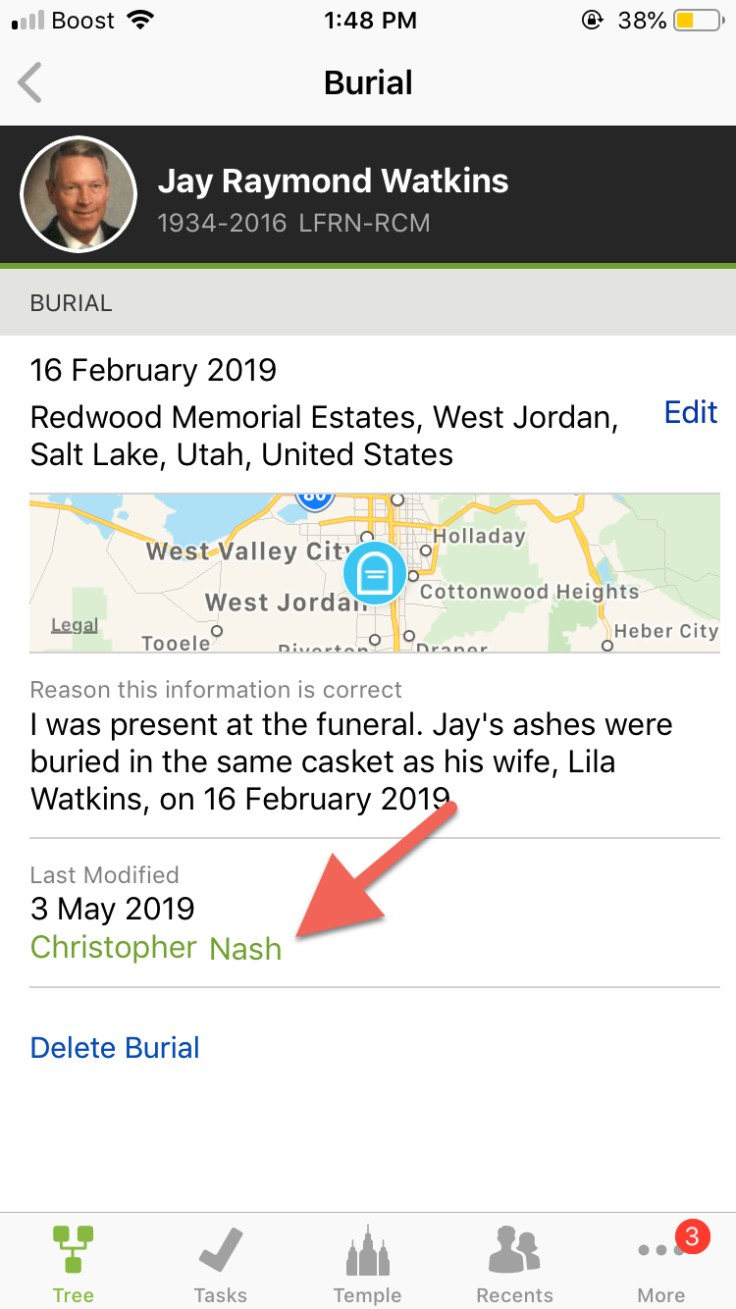 Screenshot showing a username tag on FamilySearch.